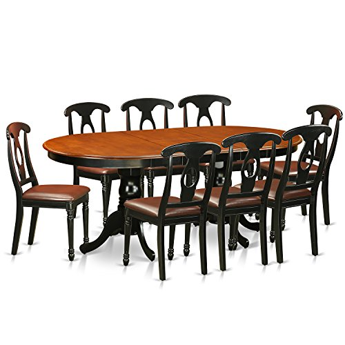 East West Furniture 9 Piece Dining Table with 8 Solid Wood Chairs Set (Table 8 Dining Extendable Seats)