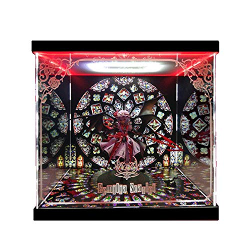 SNH Touhou Project Red Magic City Legend Milia Quesq Model Display Box Led Light Box Handmade PVC Figure Model Gk Display Box Dust Cover (Color : No Light)