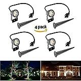 ONEVER LED Mini garden Light, 3W 300Lumen Waterproof LED Lawn Lamp Lights for Home Garden Decor, AC 220V, Cool White, US Plug (Pack of 4X)
