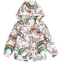 Gloous Baby Girl Long Sleeve Warm Hoodie Coat Children Rainbow Jacket Windbreakers