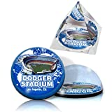 "MLB Los Angeles Dodgers Dodger Stadium in 2"" Crystal Pyramid and 2"" Crystal Magnet with Colored Windowed Gift Boxes (Set of 2)"