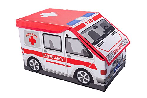 Kids Ambulance Collapsible Toy Storage Organizer by Clever Creations | Toy Box Folding Storage Ottoman for Kids Bedroom | Perfect Size Toy Chest for Books, Kids Toys, Baby Toys, Baby Clothes