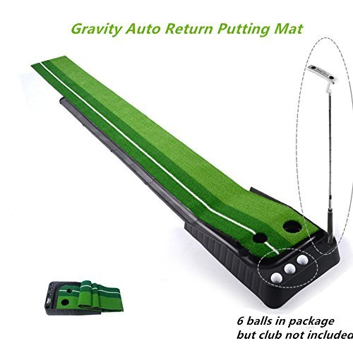 Locisne Indoor Outdoor Golf Set Ball Auto Return Hazard Putting Mat,...