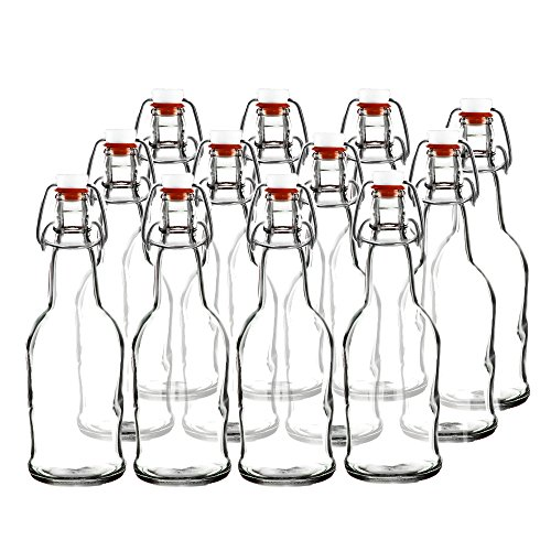 Easy Cap Beer Bottles and Kombucha Bottles - 16 oz. - Clear 12 pack - EZ Cap -- Original Cherry Blossom Hardware Bottles (12, Clear) (Limoncello Bottles With Cork)