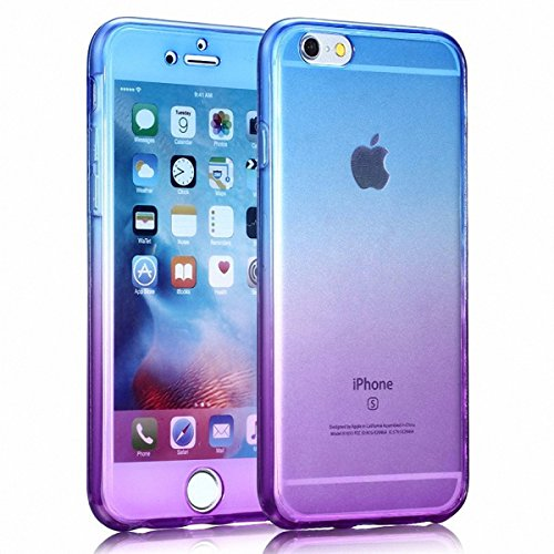 könig-shop FULL carcasa TPU Funda Protectora Cubierta Del Teléfono 360 Huawei P8 Lite - Arco Iris Violeta/Amarillo Arco Iris Blau / Violeta