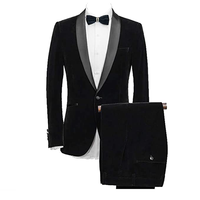 a210fdc0aa9 Men's 2 Pieces Slim Fit Tuxedo Velvet Blazer Party One Button Stylish  Dinner Jacket & Pants