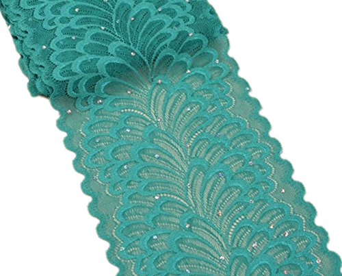 (5 Yards Peacock Lace Ribbon with Sequins Stretch Floral Tulle Lace Trim Elastic Webbing Fabric Width 7 inch for DIY Jewelry Making Craft Gift Wrapping Wedding Party Decor (Teal))