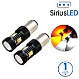 SiriusLED Super Bright White and Amber Switchback 3030 Chipset SMD LED Bulbs with Projector for Car Turn Signal Lights DRL 1157 2057 2357 7528 BAY15D P21/5W