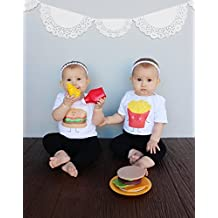 Twin Set Hamburger and French Fries Baby Bodysuits 100% Cotton