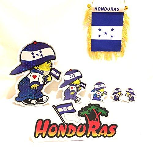 Honduras Flag Car (Honduras Car flag & Honduras flag stickers 6pc automobile& home design)