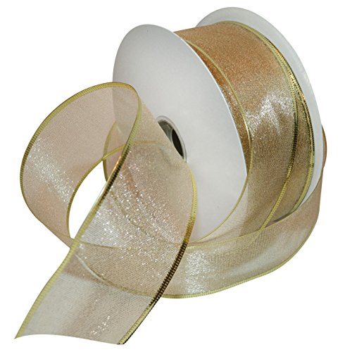 Morex Ribbon 7411.60/50-634 Lustrous French Wired Metallic Sheer Ribbon, 2-1/2-Inch by 50-Yard Spool, Gold Metallic Wired Ribbon