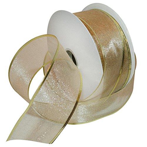 Morex Ribbon Lustrous Wired Metallic Sheer Ribbon, 2-1/2-Inch by 50-Yard Spool, Gold