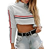 Shybuy Women High Neck Stripe Panel Long Sleeve Chic Zipper Crop Top Blouse Fashion Short Hoodies (Grey, XL)
