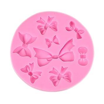 MSYOU Moldes de silicona en forma de lazo DIY hecho a mano molde para magdalenas fondant Cake Jelly Chocolate Candy Cookies Hielo Cube Goma Pasta Jabón: ...
