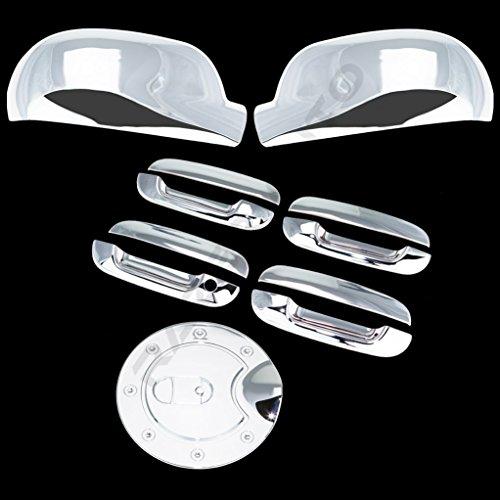 Razer Auto Chrome Mirror, 4 Door Handle Without Passenger Keyhole, Gas Cover for 2002-2009 Chevy Trailblazer, 2002-2009 GMC ()