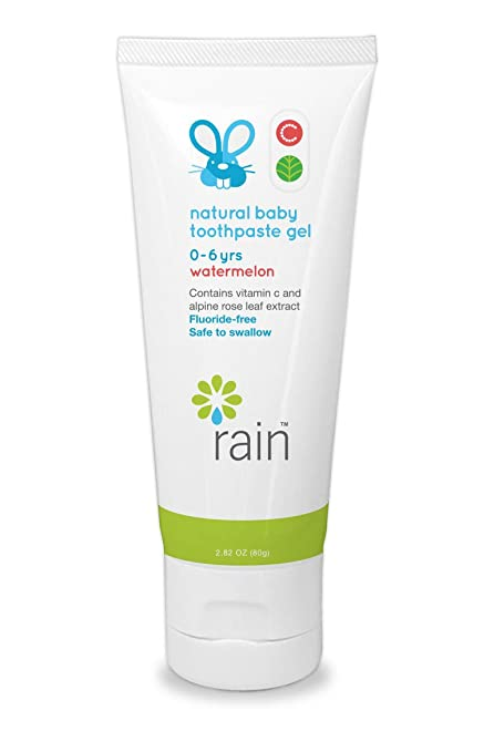 Natural Baby Kids Fluoride-Free Toothpaste - Infant Toddler Tooth Paste Gel, Safe To Swallow, Babys Dental Training, Vitamin C Enriched To Help Prevent Gingivitis, Ages 0 To 6 Years