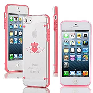 Apple iPhone 4 4s Ultra Thin Transparent Clear Hard TPU Case Cover Irish Claddagh (Pink)