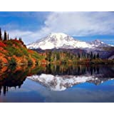 Mount Rainier Lake Reflection With Snow Mountain Scenery Landscape Art Print Poster (16x20)