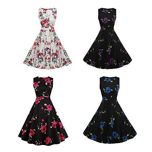 50174f7fddef ... Damen Sommerkleid Retro Chic ärmellos 1950er Neckholder Audrey Hepburn  Kleid Cocktailkleid Rockabilly Swing Kleid - YAMEE