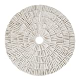 Shimmer Burlap Creme Ruffle Trim Rustic Christmas Tree Skirt, 50 inches, Holiday Decoration