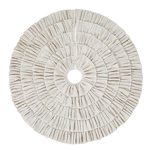 Shimmer Burlap Creme Ruffle Trim Rustic Christmas Tree Skirt, 50 inches, Holiday ()