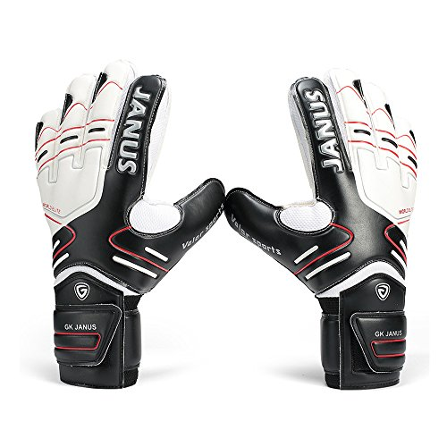 Winnas Youth&Adult Goalie Goalkeeper Gloves by, Strong Grip for The Toughest Saves, With Finger Spines to Give Splendid Protection to Prevent Injuries (Black, 10)