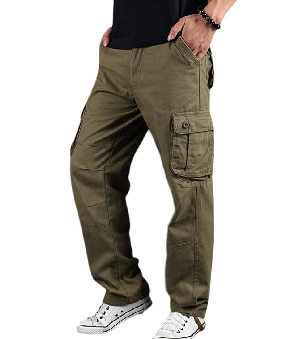 YUNY Mens Oversized Relaxed-Fit Middle Waist Cotton Tactical Combat Pants Yellow 33