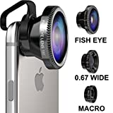 Oniza® 3 in 1 Camera Lens Kit HD [Universal] for iOS Android & Samsung Galaxy Smartphones (iPhone 4 4S 5 5S 6 6S Plus and iPad) - Detachable 0.65x Wide Angle, 180° Fish Eye & Macro Lens [Easy Clip On]