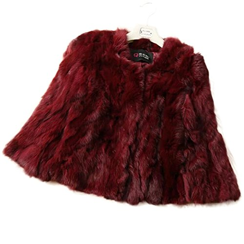 Manka Vesa Natural Real Rabbit Fur Women Winter Thick Warm Jackets 3/4 Sleeve Wine (3/4 Sleeve Leather Jacket)