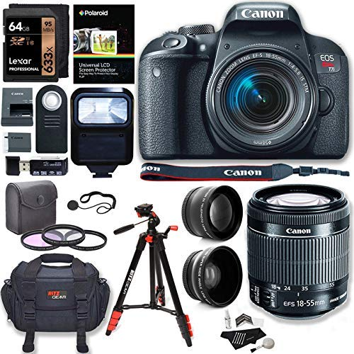 Canon EOS Rebel T7i Camera, EF-S 18-55 is STM Lens Kit, Sandisk 64GB, Ritz Gear Premium SLR Camera Bag, Filter Kit, Flash and Accessory Bundle