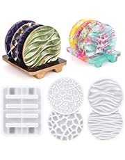 Coaster Molds for Resin Casting, 4PCS Round Resin Coaster Molds with Coaster Holder Mold, Different Pattern Silicone Coaster Molds for Epoxy Resin DIY Home Decoration, Cup Coaster Mold Set-5pcs