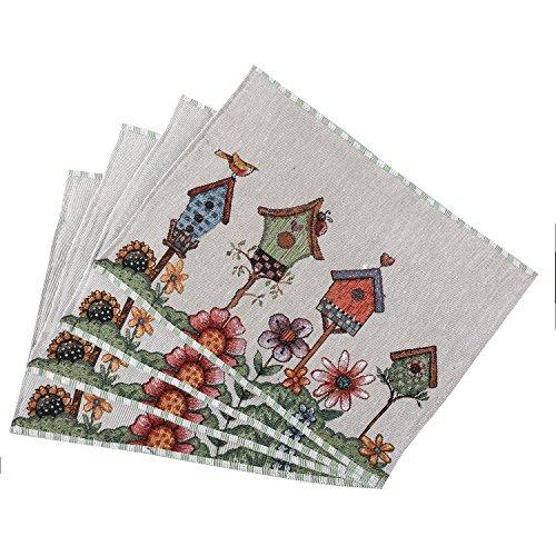 - Decorative Cotton Placemats Bird House Flower Pattern Theme Coffee Mat Cup Mat Heat-Resistant Non-Slip Washable Table Mats for Home Kitchen Event Party Decor (1 Placemat)