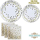 Gold Dot Disposable Paper Plates and Napkins Set 150 PCS; Foil Design 50 Dinner and Dessert Plates and 50 Napkins for Bridal Baby Shower Wedding Anniversary Engagement Birthday Party and more!