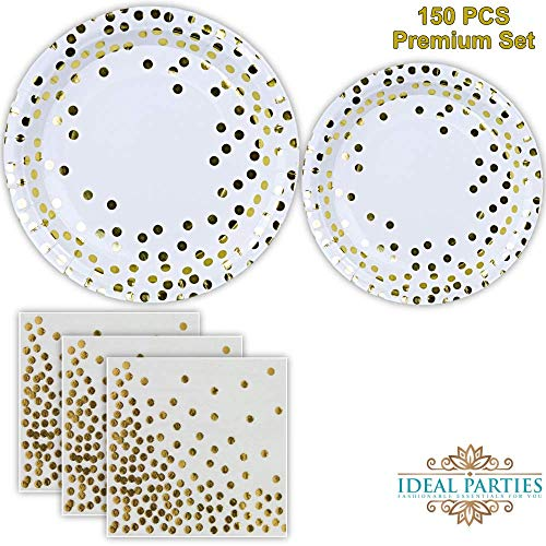 Gold Dot Disposable Paper Plates and Napkins Set 150 PCS; Foil Design 50 Dinner and Dessert Plates and 50 Napkins for Bridal Baby Shower Wedding Anniversary Engagement Birthday Party and more! -