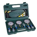 Hydraulic Pressure Gauges Kit, fosa Excavator Hydraulic Pressure Test Kit with Testing Hose Coupling Pressure Gauges