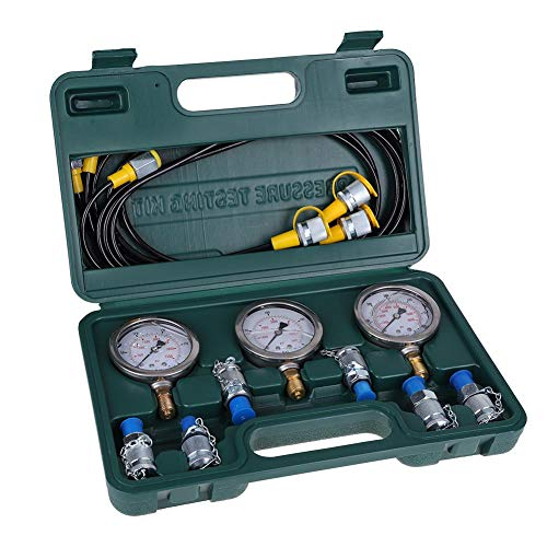 Hydraulic Pressure Test Kit, Asixx Excavator Hydraulic Pressure Test Kit with Testing Hoses, Test Couplings and Gauges for Construction Machinery Excavator Hydraulic Pressure Test ()
