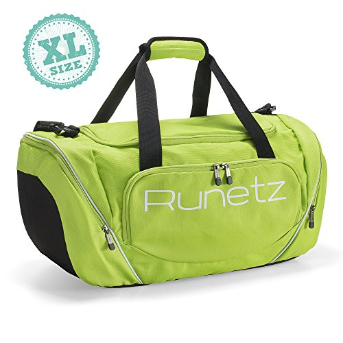 Runetz - Extra Large LIME GREEN Gym Bag Sport Shoulder Bag for Men & Women Duffel 30-inch XL - Lime Green