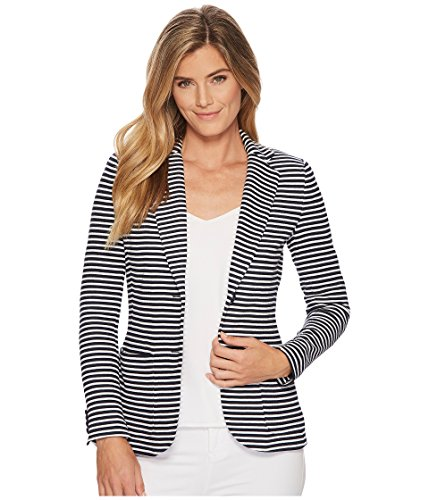 (Lauren by Ralph Lauren Women's Striped Knit Cotton Jacket Navy/White X-Large)