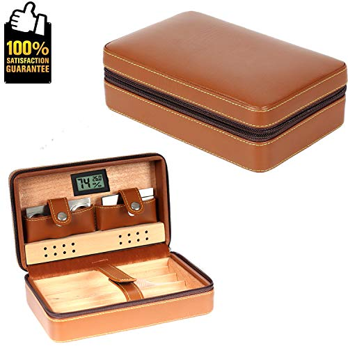 COMMODA OMMODA Portable Genuine Leather Cedar Cigar Travel Case Cedar Humidor with Digital Hygrometer Cutter Stand Set Wooden Box