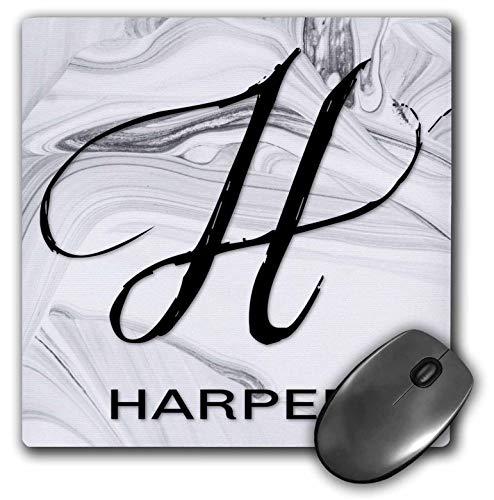 3dRose BrooklynMeme Monograms - White Marble Monogram H - Harper - Mousepad (mp_305459_1)