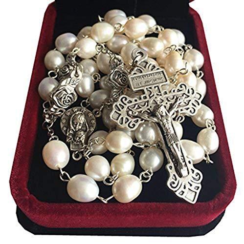 elegantmedical 8-9MM Pearl Silver Beads Rosary Crucifix Jesus Cross Catholic Necklace Box
