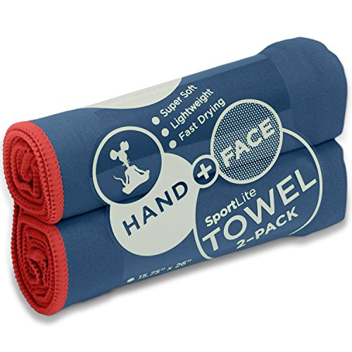 Action Sport Towel / Travel Towel by SportLite - 100% Microfiber - Multiple Sizes - Hand Towel - Gym Towel - Beach Towel - Ultra-Light & Fast Drying - Many Colors - Camping - Gym - Swim - Surf