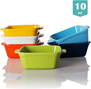 Sweejar Ceramic Souffle Dishes,Square Double Handle-Ramekins-Baking, 10 OZ for Creme Brulee, Custard,Dipping - Set of 6