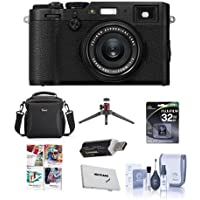Fujifilm X100F 24.3MP Digital Camera, Fujinon 23mm f/2 Lens, Black - Bundle With 32GB SDHC Card, Camera Case, Table Top Tripod, Cleaning Kit, Memory Card Case, Card Reader, Software Package
