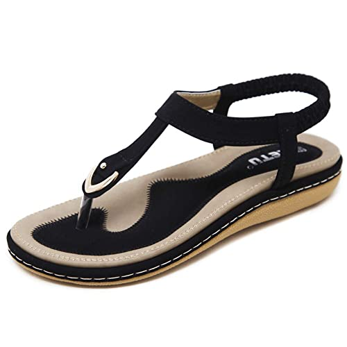 wholesale dealer 4722c a4618 Sandalen Damen Sommer Flach Sandaletten mit Strass Perlen Frauen Strand  Boho Zehentrenner