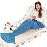 PePeng Handmade Crochet Mermaid Tail Blanket for Girls and Adults, All Season Warm and Soft Living Room Sofa Bed and Outdoor Beach Snuggle in Sleeping Bag, Large, Sky Blue