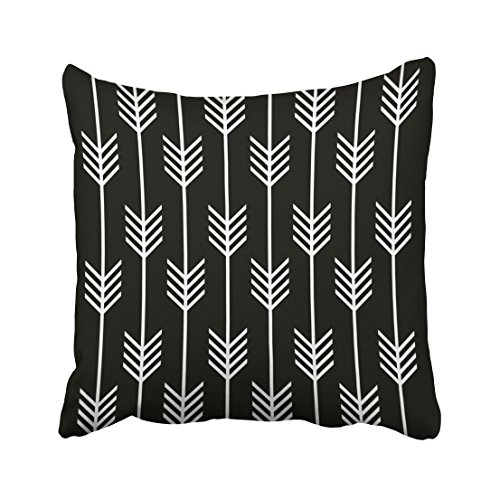 Capsceoll modern arrow fletching pattern black white Decorative Throw Pillow Case 20X20Inch,Home Decoration Pillowcase Zippered Pillow Covers Cushion Cover with Words for Book Lover Worm Sofa Couch