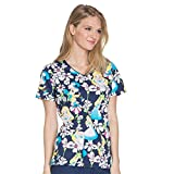 Cherokee Tooniforms Women's V-Neck Alice In Wonderland Print Scrub Top XXX-Large Print