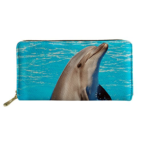 Showudesigns Cute Dolphin Purse Clutch Wallet for Women Girls Card Organizer Blue