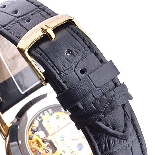 ManChDa Mens Dragon (Dignified Looking) Automatic Mechanical Black Leather Crystal Golden Watch Gift Box